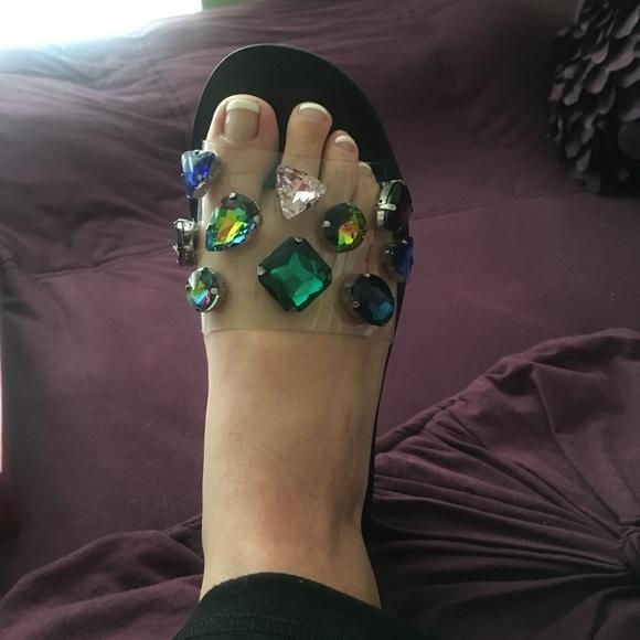c8891be8002 { Steve Madden } Jeweled Slide Rosalyn Sandals